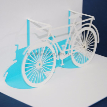 Good Quality Bicycle Holiday Cards Decorative Pop Up Paper Greeting