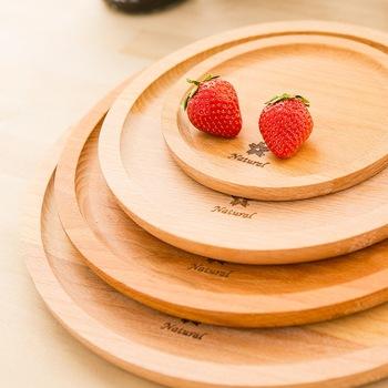 Yuvarlak Kayın Ahşap Boya Olmadan Ekmek Tabağı Meyve Tabağı Aperatif