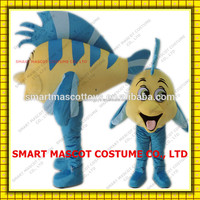 Easy wearing adult walking tropical fish mascot in blue and yellow for adult to wear tropical fish mascot
