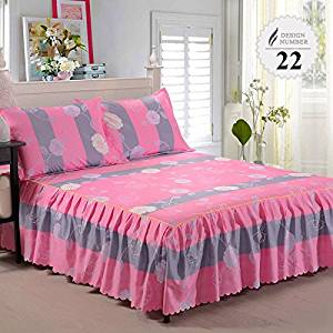 3 Piece Bed Sheet Set Bedding Sets Super King White Bed Sheet,Mattress Cover,Bedspread,Contain 1 Bed Skirt 2 Pillowcase (Twin size)
