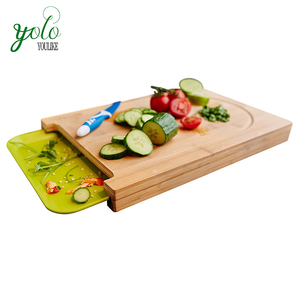 Bamboo Cutting Board with Drip Groove and Plastic Tray