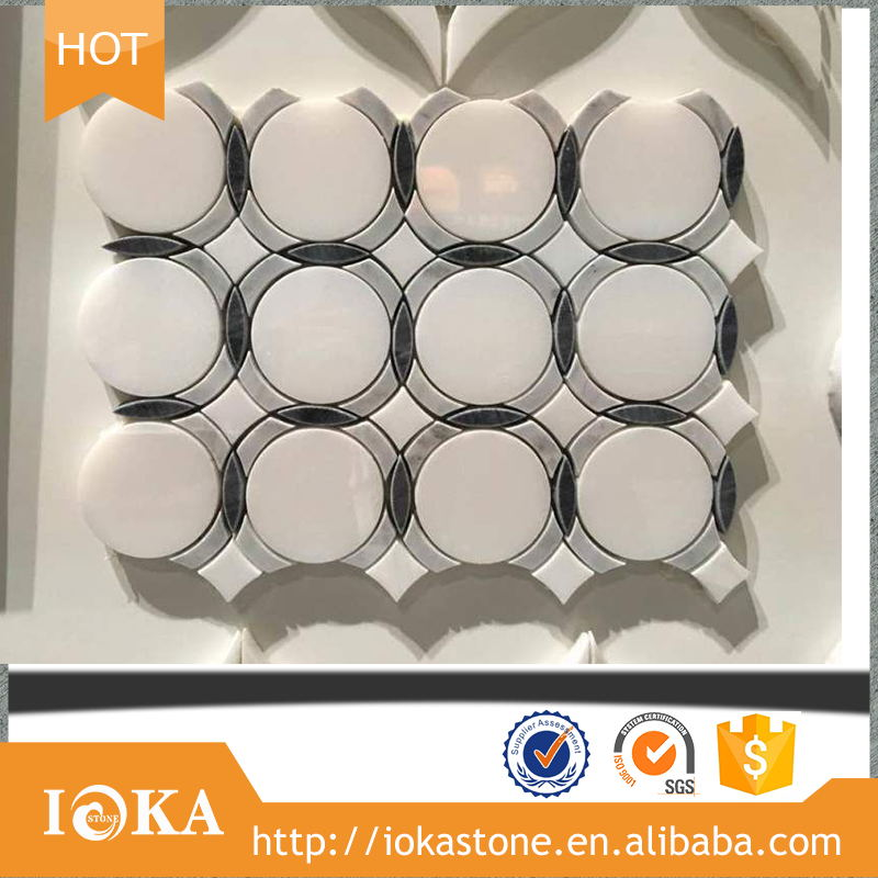 Professional Design Polished Blue Marble Round Shape water jet crystal white round mosaic tiles
