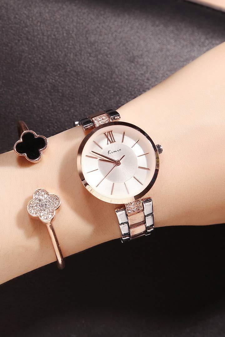 JEGOAU Women Gift Ladies Fashion Chain Woman Watch Unique Gift Waterproof Electronic Quartz Watch (Silver Rose Gold Rose Gold Plate Edge
