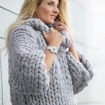 New Design Merino Wool Giant Hand Knit Marshmallow Sweater Buy