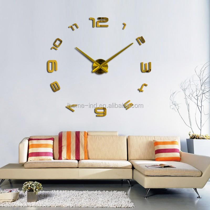 Quartz Klokken Mode Luxe 3D Real Grote Wandklok Spiegel Stickers DIY ...