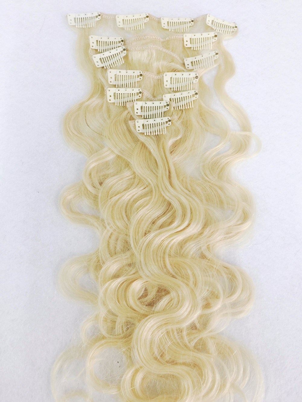 Wholesale brazilian body wave virgin remy human hair extensions clip in