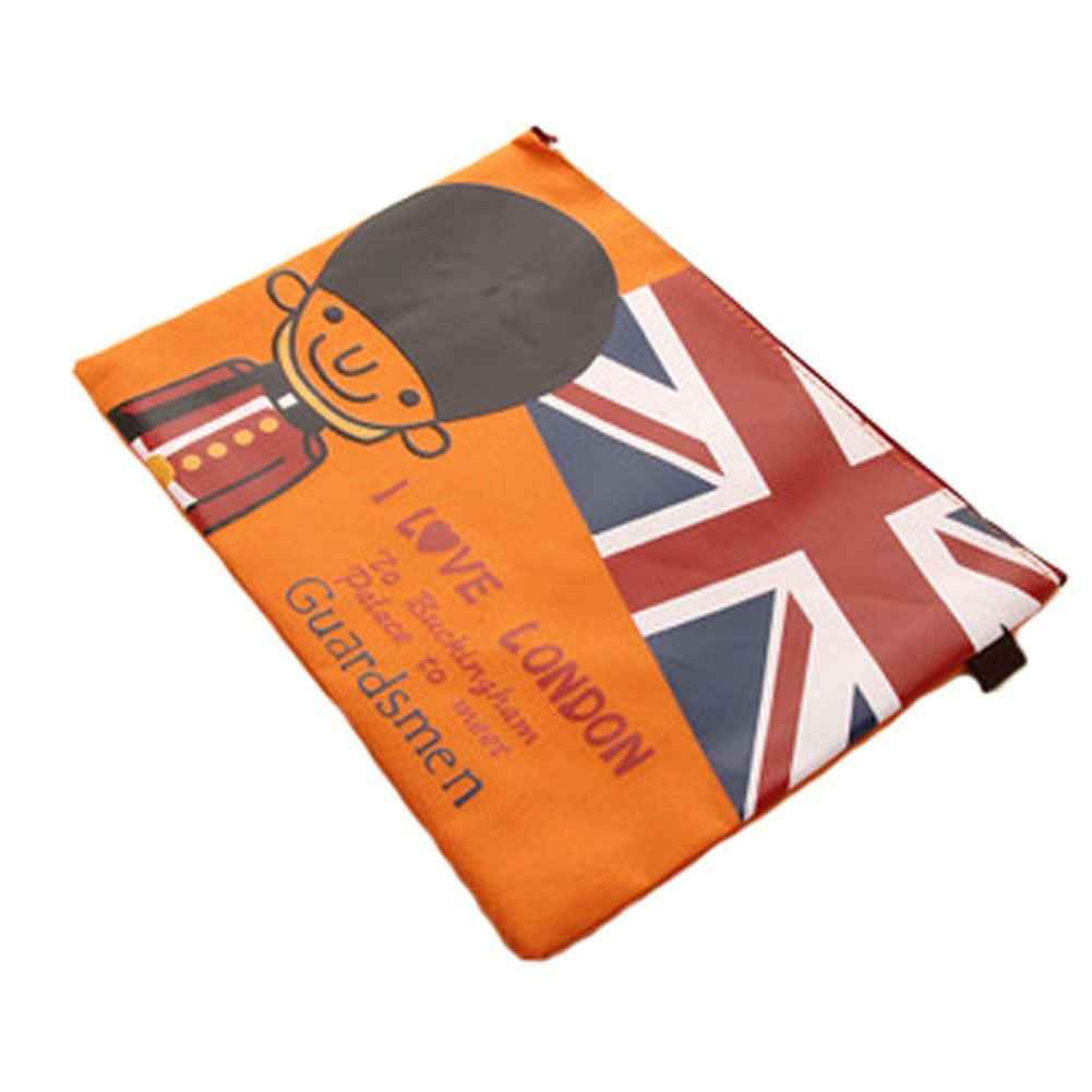 Set of 2 Canvas Document File Stationery Zipper Bag Holder Pocket Pouch - Orange