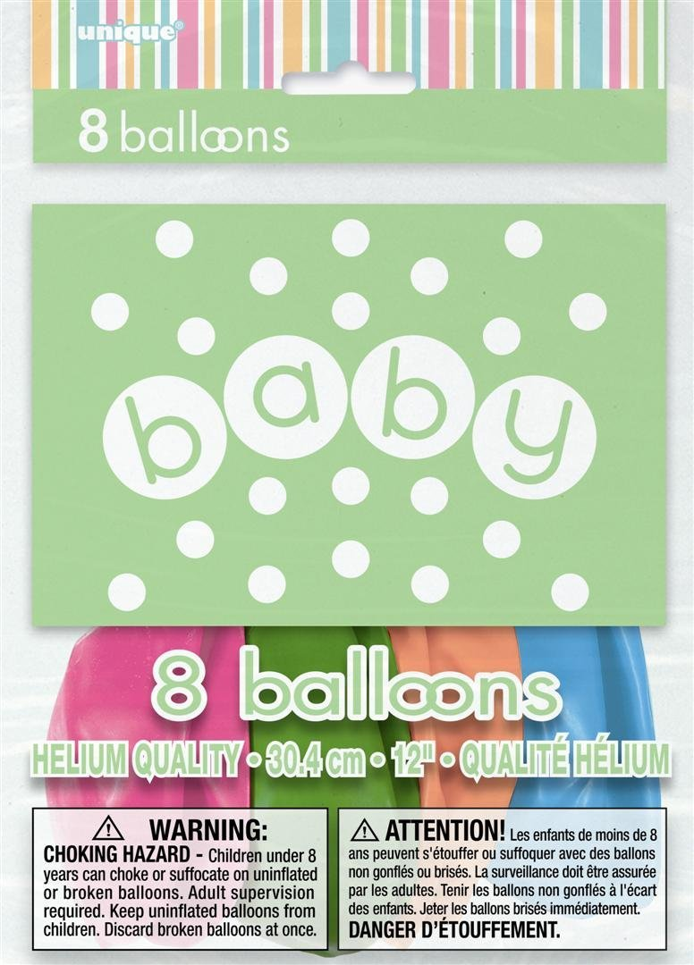 "12"" Latex Pastel Baby Shower Balloons, 8ct"