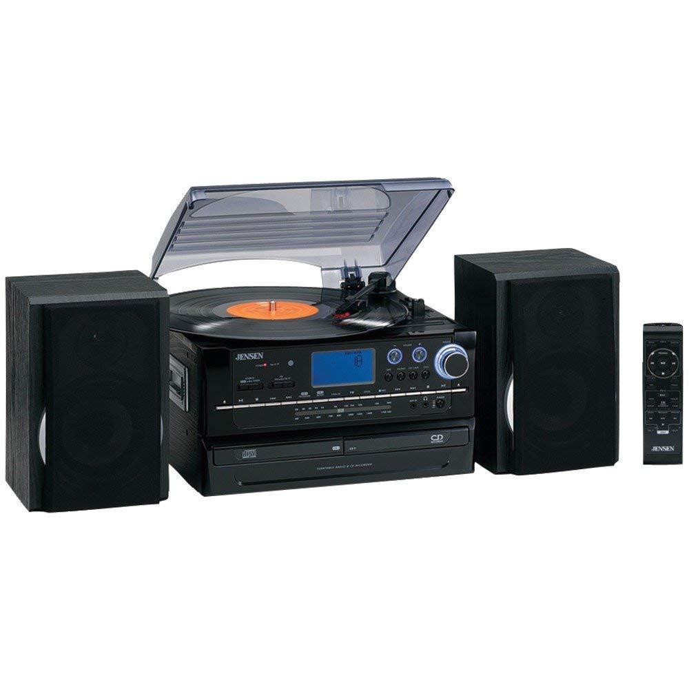 JENSEN JTA-980 3-Speed Turntable System with CD & Cassette Encoding