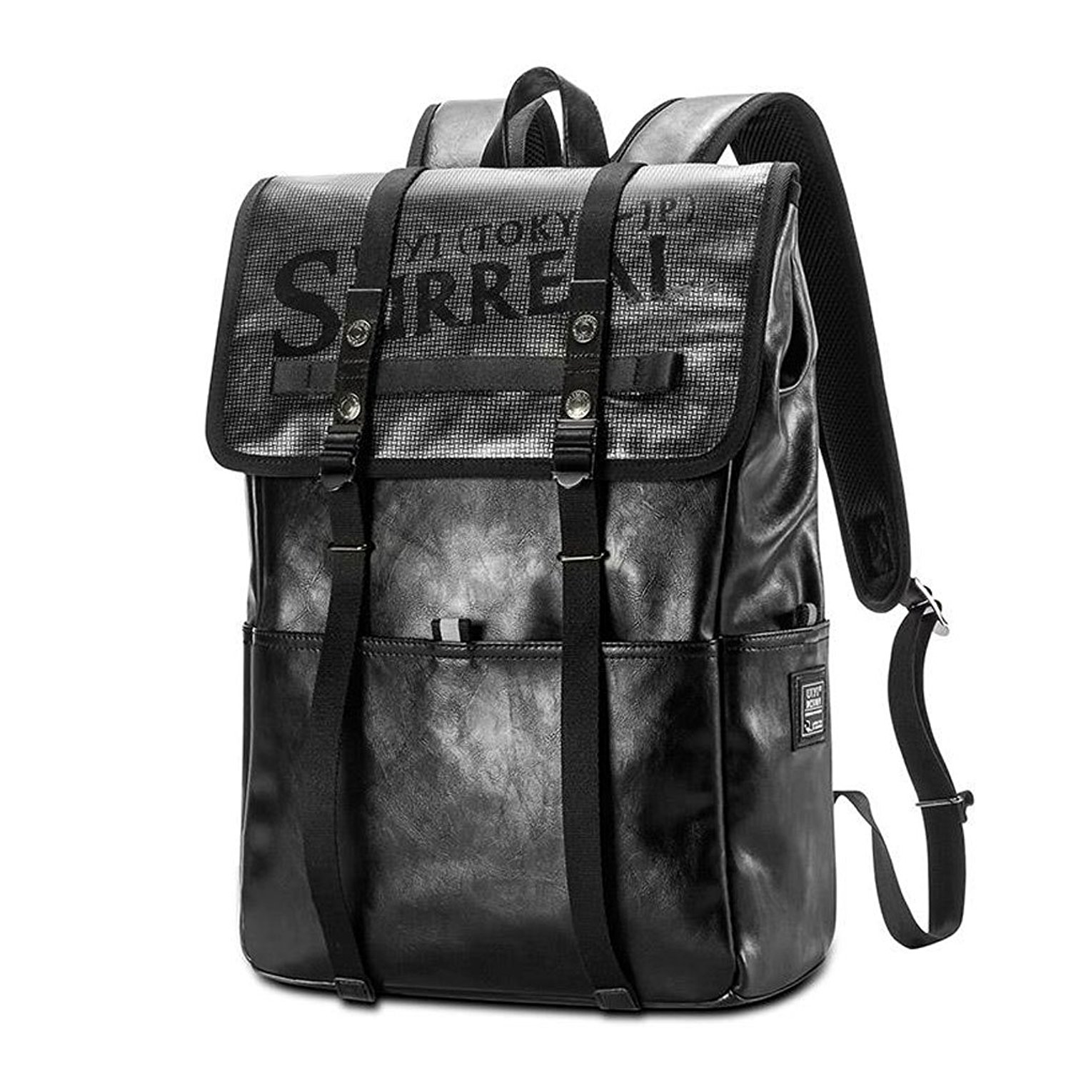 68bb6e47f1 Get Quotations · UIYI Mens Leather Shoulder Basic Backpack 14 Inch  Knapsacks Outdoor Bag 160231