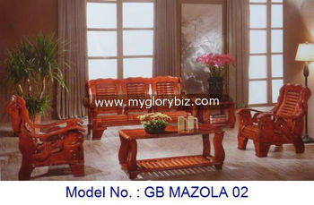 Antique Solid Wood Wooden Sofa Set With