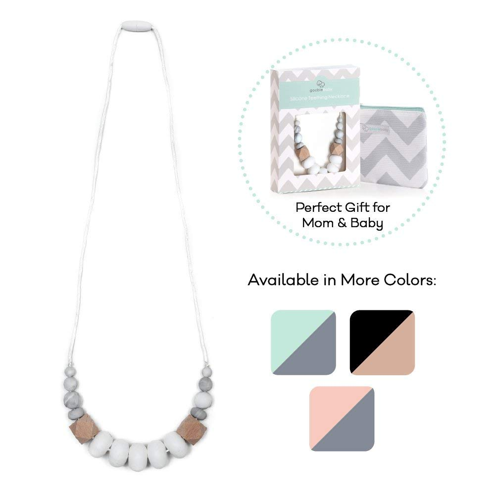 Goobie Baby Harper Silicone Teething Necklace for Mom to Wear, Safe BPA Free Beads to Chew - White/Marble