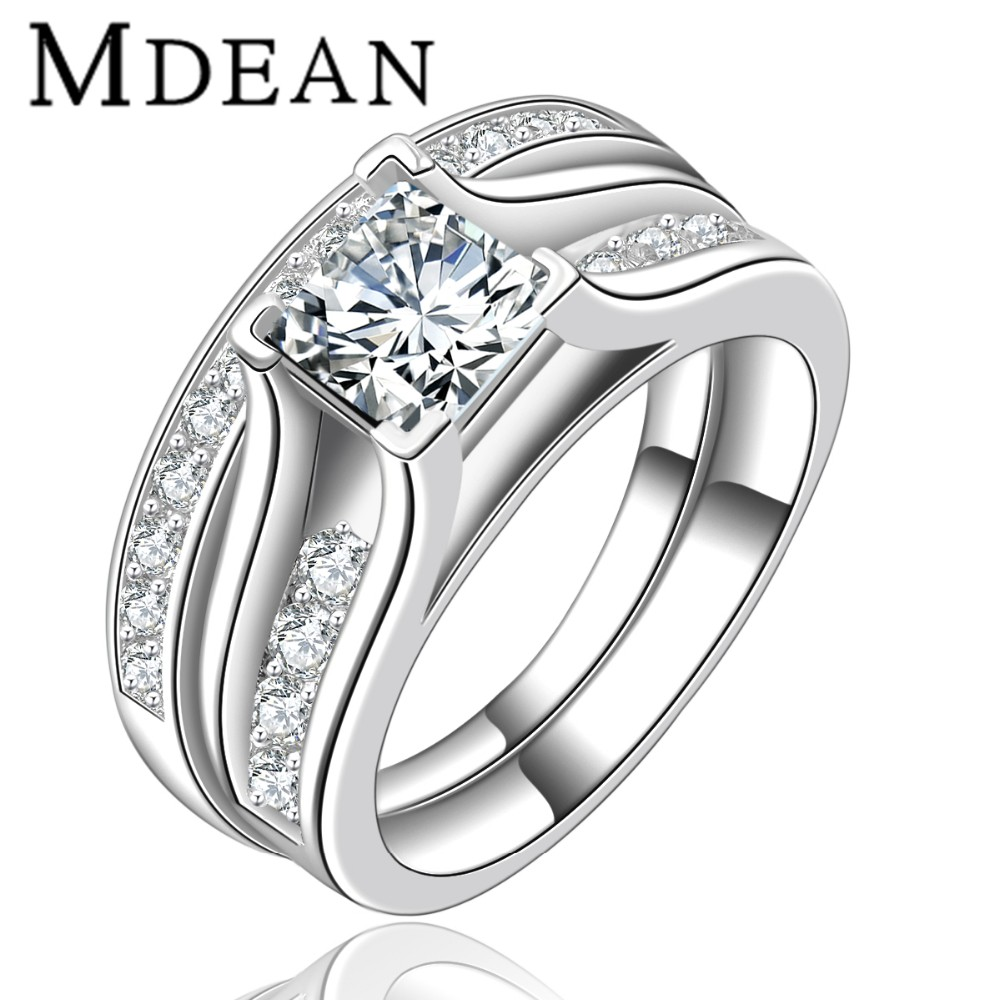 Mdean Wedding Ring Bridal Sets For Women Luxury Rings Vintage Bague Engagement Bijoux Lady Accessories
