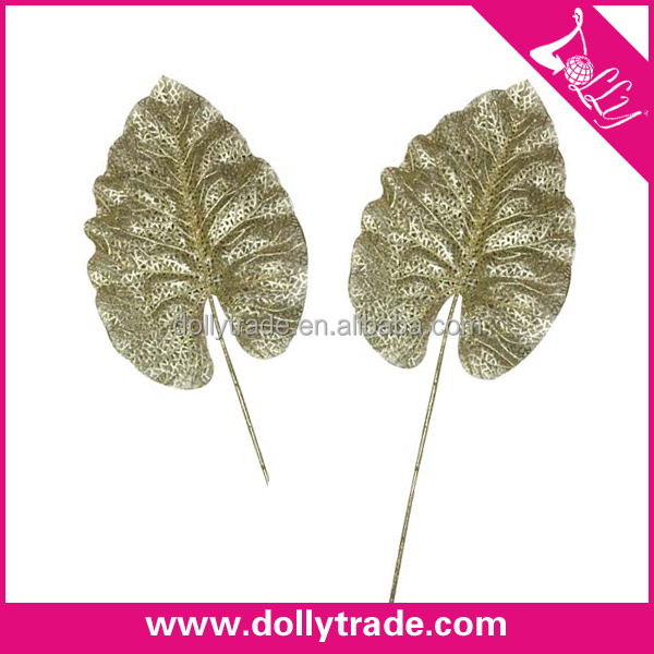 Plastic Wedding Floral Gold Glitter Plastic Corsage Leaves Artificial Leaves
