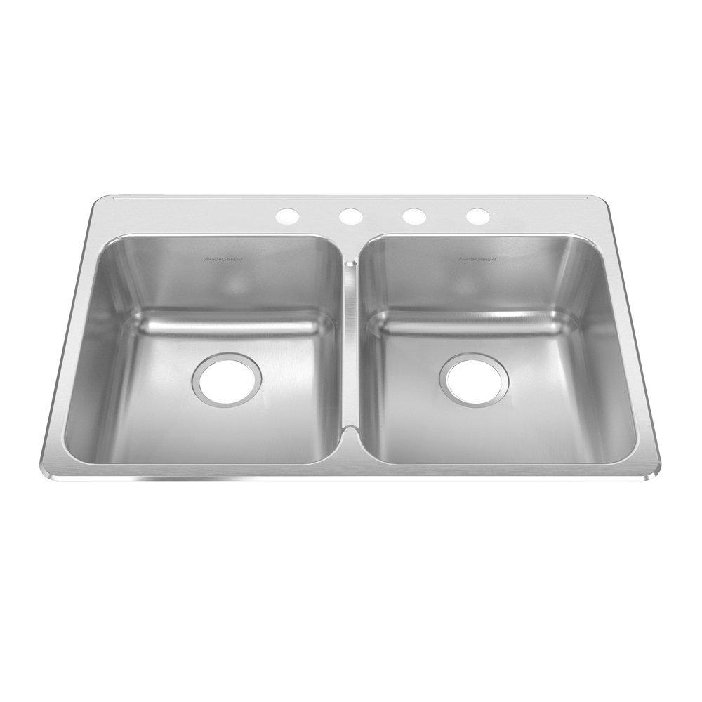 American Standard 15DB.332284.073 Prevoir 33.38-Inch Stainless Steel 4-Hole Topmount Double Bowl Kitchen Sink, Radiant Silk