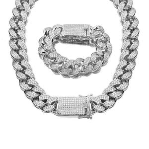 18mm New Diamond iced out Silver Miami Cuban Link Chain with Cubic Zircon Bling for Man's and Woman's Jewelry Necklaces