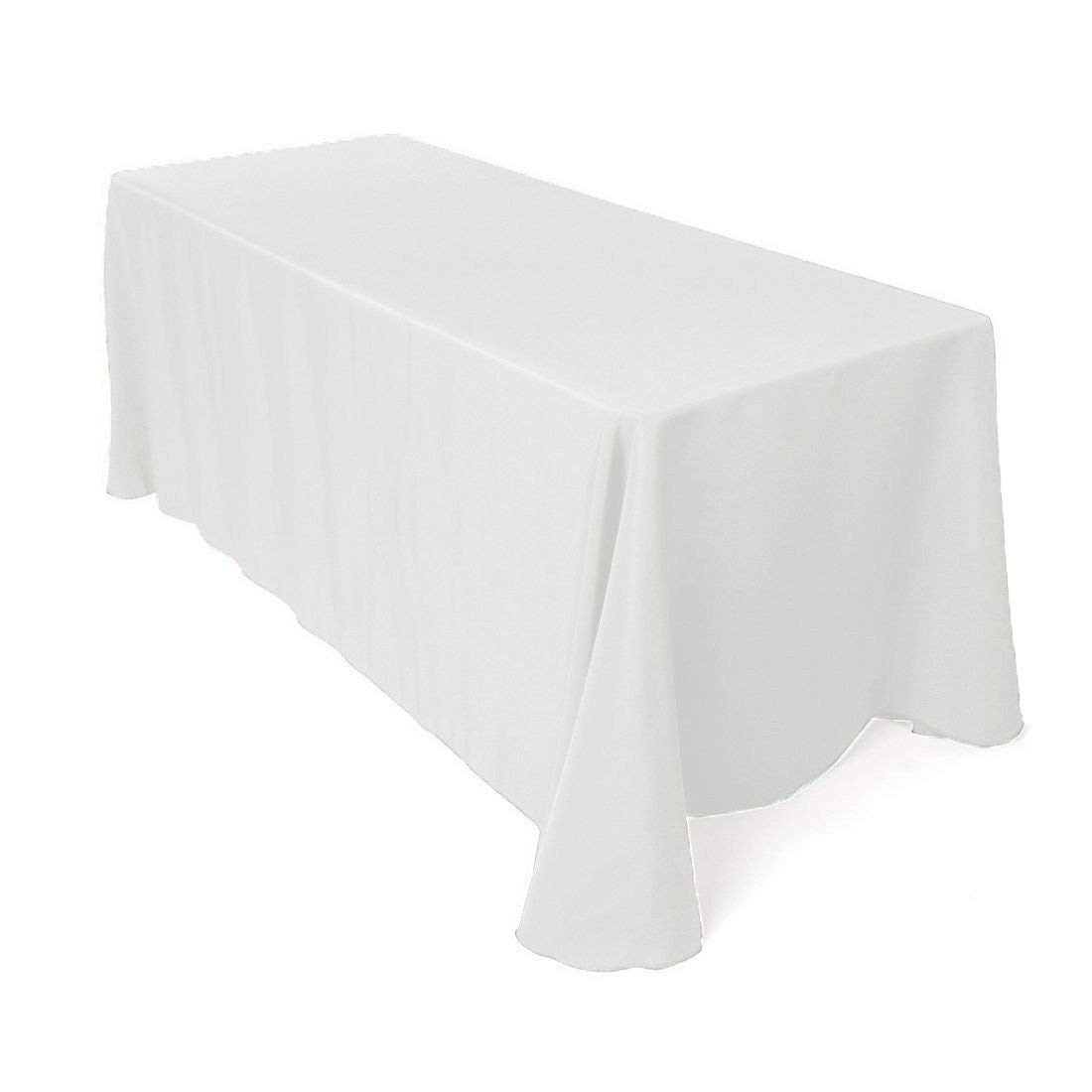 """90""""x132"""" Rectangular Seamless Tablecloth for Wedding Restaurant Banquet Party by GW Home (White)"""