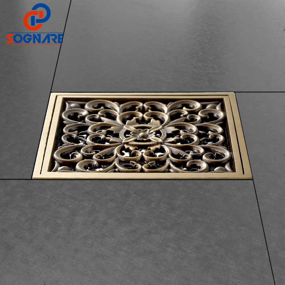SOGNARE 10*10cm Antique Brass Art Carved Cover Square Shower Floor Drain Trap Waste Grate BathDrain D505A