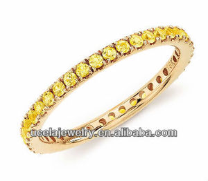 Jewelry Sets Yellow Sapphire Eternity Ring in 18k Yellow Gold