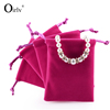 Oirlv Wholesale Custom LOGO Various Colors Choice Rectangle Jewelry Bag with Satin Cord Drawstring Velvet Jewellery Pouch