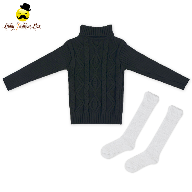 2LYF-132 Yihong Solid Color Long Sleeve Black Handmade Boys Sweaters Match Sock Newborn Baby Sweater