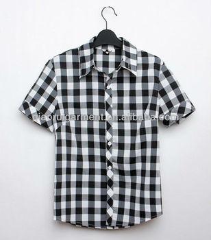 2013 Men's Fashion Short Sleeve White-black Big Plaid/check Casual ...