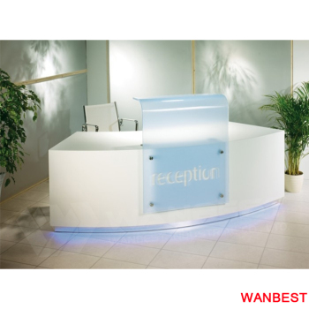 White Small Size Office Information Reception Counter Desk For 1