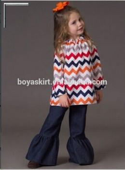 Wholesale Children's Christmas Clothes Outfit Kids Chevron Top ...