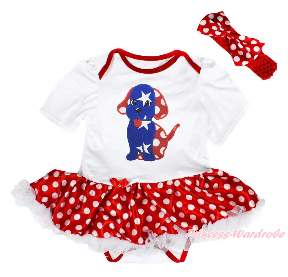 4th July Patriotic Star Dog Puppy White Bodysuit Girls Minnie Baby Dress NB-18M