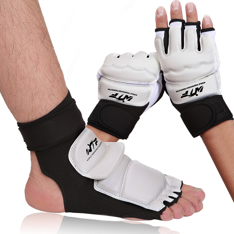 Hot Sell Taekwondo Gloves White Hand Protector Leather Martial Arts Training Hand Guard
