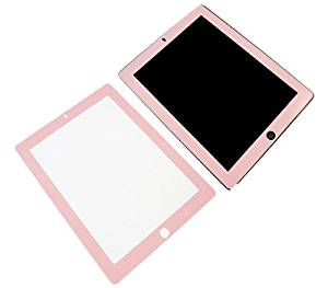 "iTALKonline Apple iPad 2 (2011) 2nd generation iPad 3 ""The New iPad Retina Display"" (2012) 3rd Generation (Wi-Fi and Wi-Fi + 3G + 4G) 16GB 32GB 64GB Screen Protector Guard with MicroFibre Cleaning Cloth and Application Card with PINK BORDER"