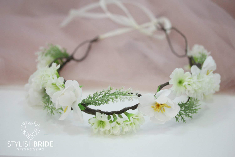 Wedding Hair Vine Flower Crown Wreath, Flower Hair Vine, Flower Crown, Green Bridal Headband, Wedding HairPiece, Bridesmaides Crown