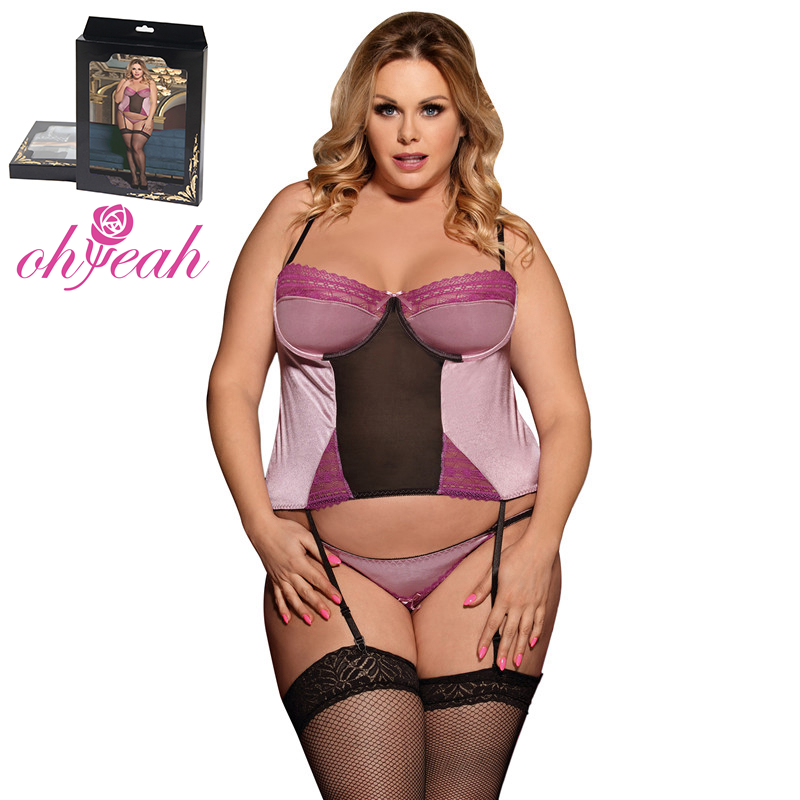 Plus Size Wholesale Satin Pink Lace Bustier Fat Girl Sexy Babydoll Lingerie, Pink lingerie girl