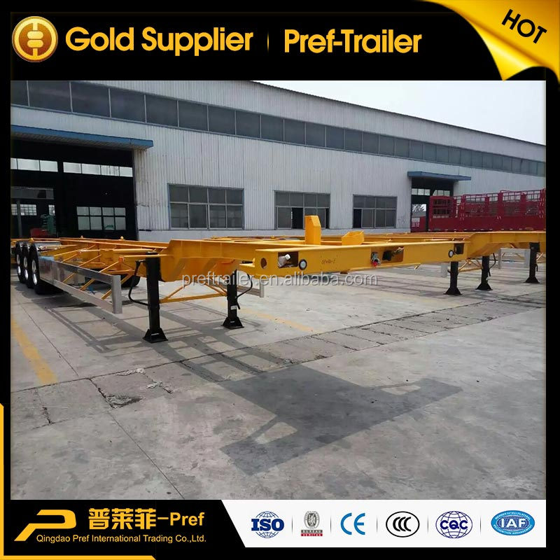 Tri-axle 20ft 40ft Container Chassis Skeleton Container Transport Semi Trailer with Aluminum Rim and Side Guard