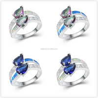 Rainbow Topaz Inlay Platium Plated Silver Doulbe Stone Opal Jewelry