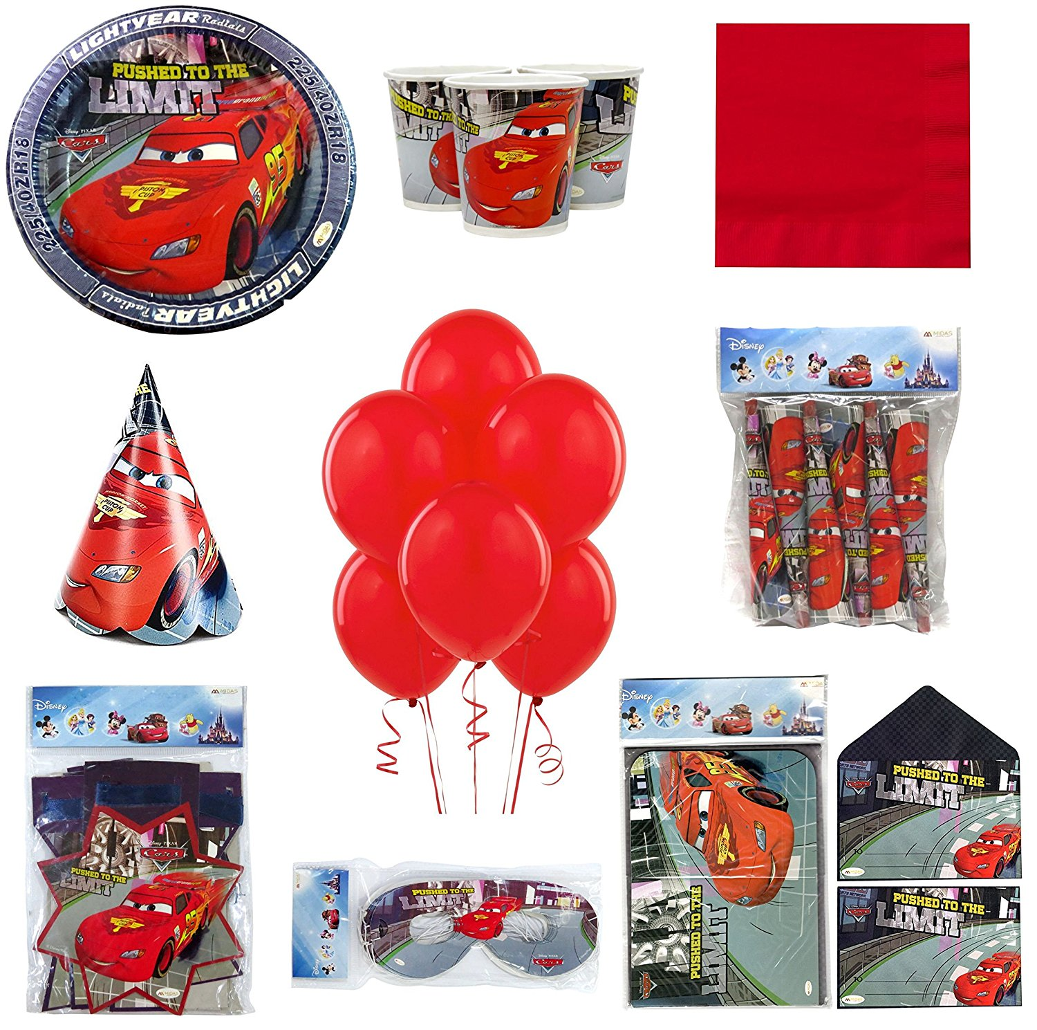 Party-Anthem Disney Cars Ultimate Party Kit For 20 Guests - 161 Pieces Set. Multicolor