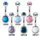 Stainless steel opal double jeweled body navel jewelry belly button ring
