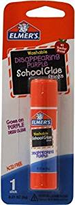 Elmer's Disappearing Purple School Glue Stick, 0.21 oz, Single Stick (E513) Size: 1-Pack Style: 0.21-Ounce, Model:E513, Office Accessories & Supply Shop