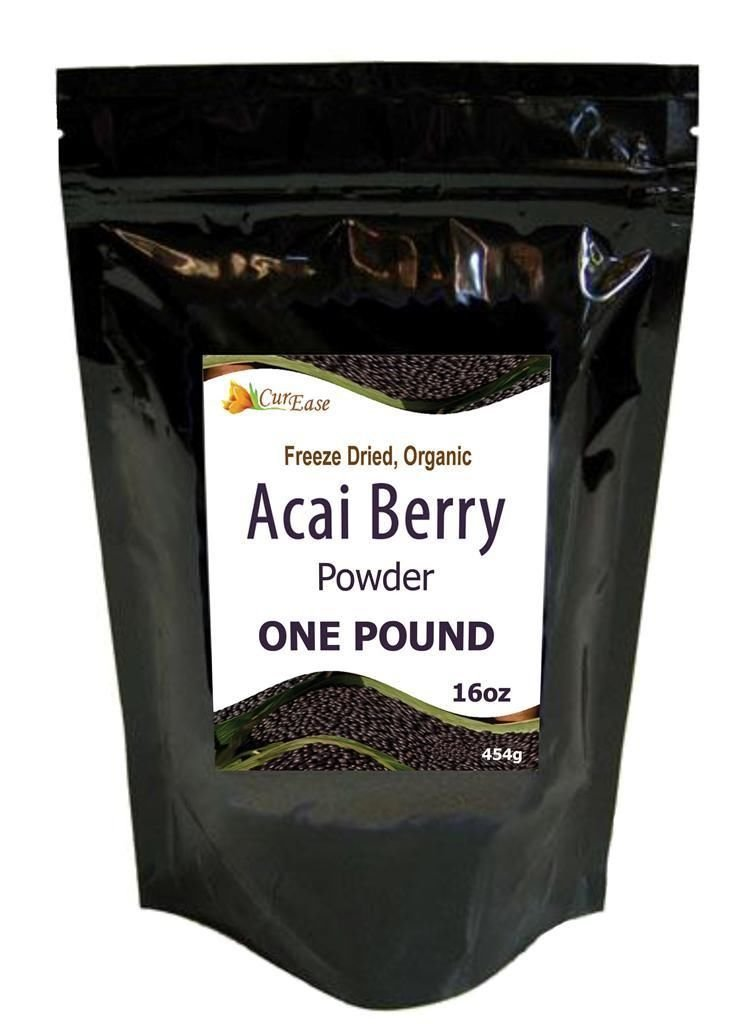 CurEase Acai Berry Powder Organic Freeze Dried Pound 1lb (16oz)