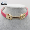 2016 newest hot pink leather choker necklace with high polished bar alloy connected