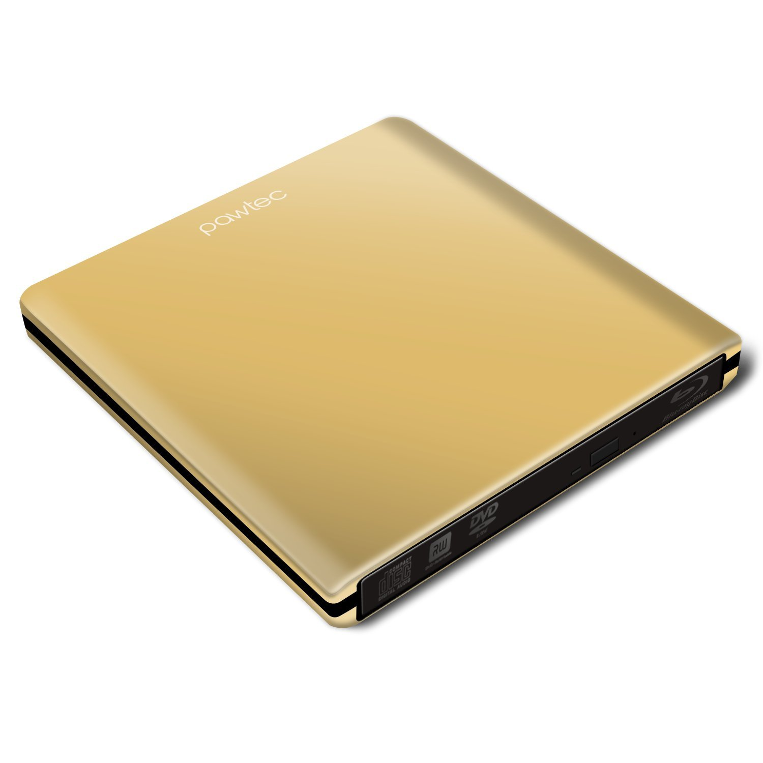 Pawtec Luxury Slim External USB 3.0 Aluminum 6X BDXL 3D Blu-Ray Writer / Burner - Gold Edition