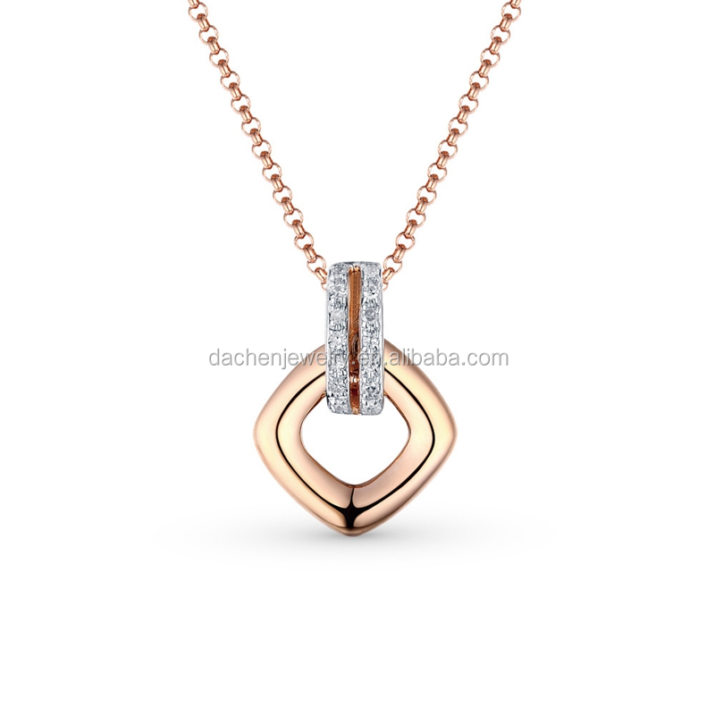 Elegant Rose Gold Plating Pendant 925 Silver Necklace Best Imports Wholesale Jewelry