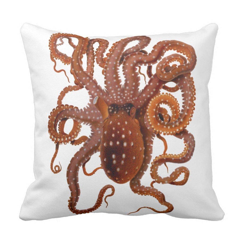 "Zazzle Octopus Macropus Atlantic White Spotted Octopus Throw Pillow 16"" x 16"""