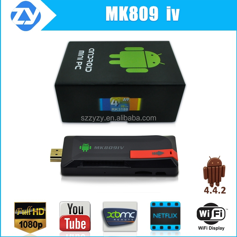 Factory supply mk809 iv rk3188 quad core android 4.4 mini pc smart tv dongle 4k full hd 1080p satellite reciever