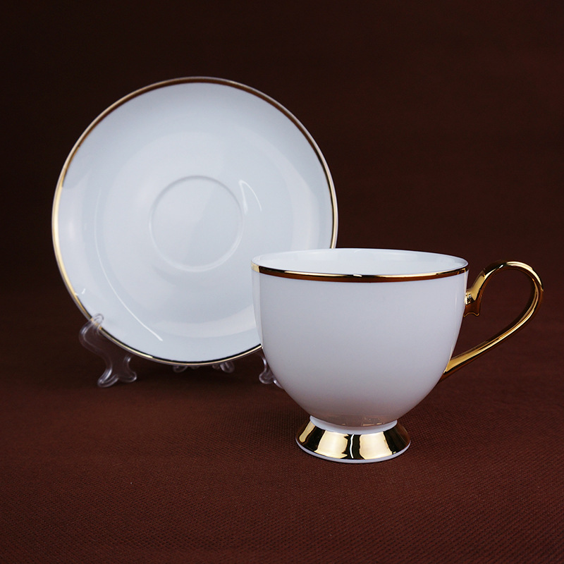 Porcelain Cappuccino Cups and Saucers White Tea/Coffee Cup and Saucer Set with Gold Handle