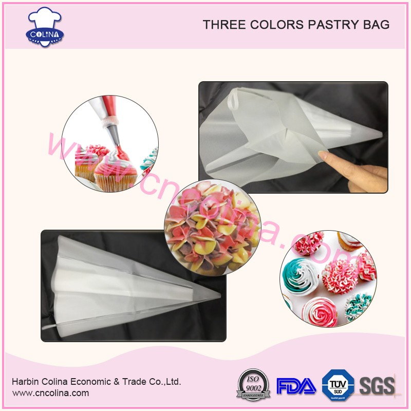 Three colors cake decoration silicone reusable pastry bag piping bag
