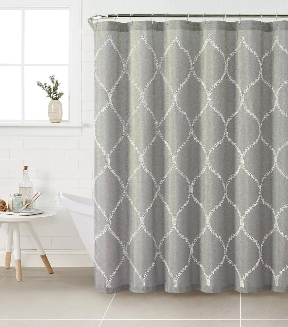 Get Quotations · Fabric Shower Curtain With White Embroidered Trellis  Design (Silver Gray)