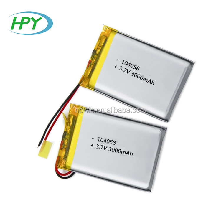 Flat lithium polymer batteries 104058 3.7v 3000mah battery lipo cell with protection board