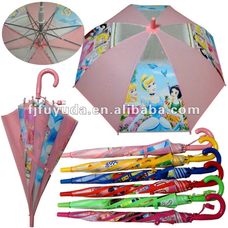 pink photo print kids PVC/POE/EVA cartoon umbrella with whistle