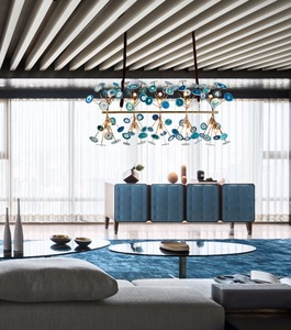 Newest Modern Blue Natural Agate Chandelier for Living Room Hotel lamp